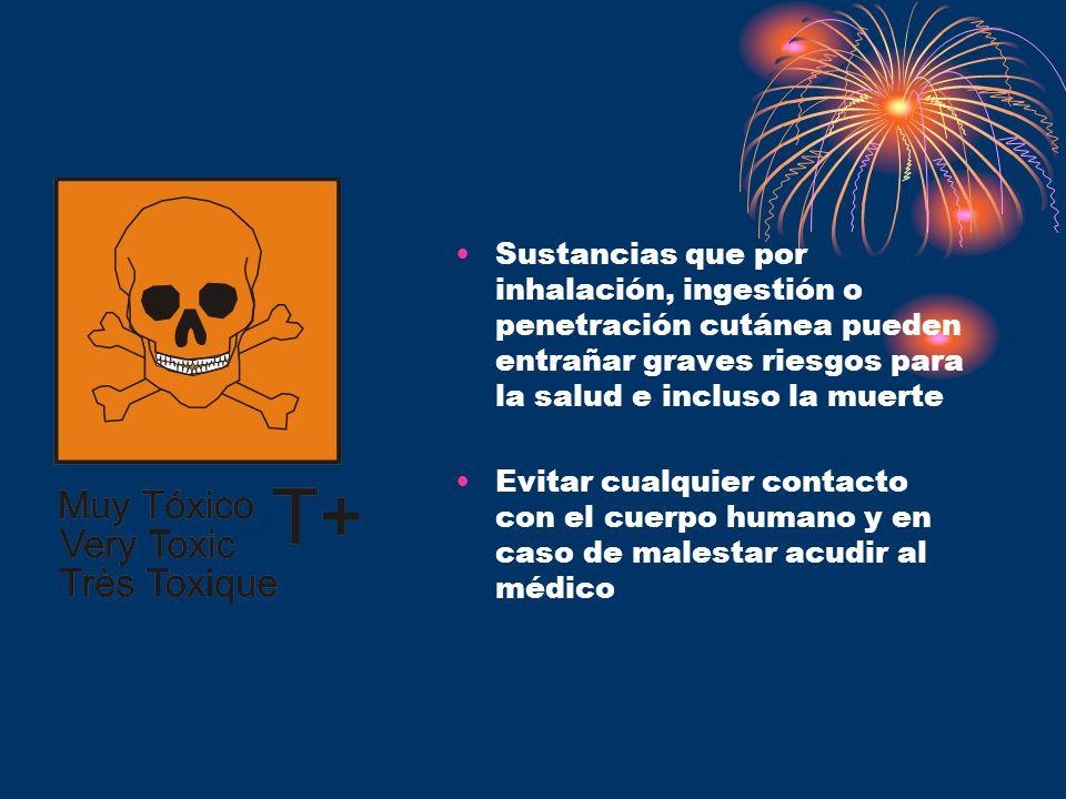 Sustancias que por inhalación, ingestión o penetración cutánea pueden entrañar graves riesgos para la salud e incluso la muerte Evitar cualquier conta