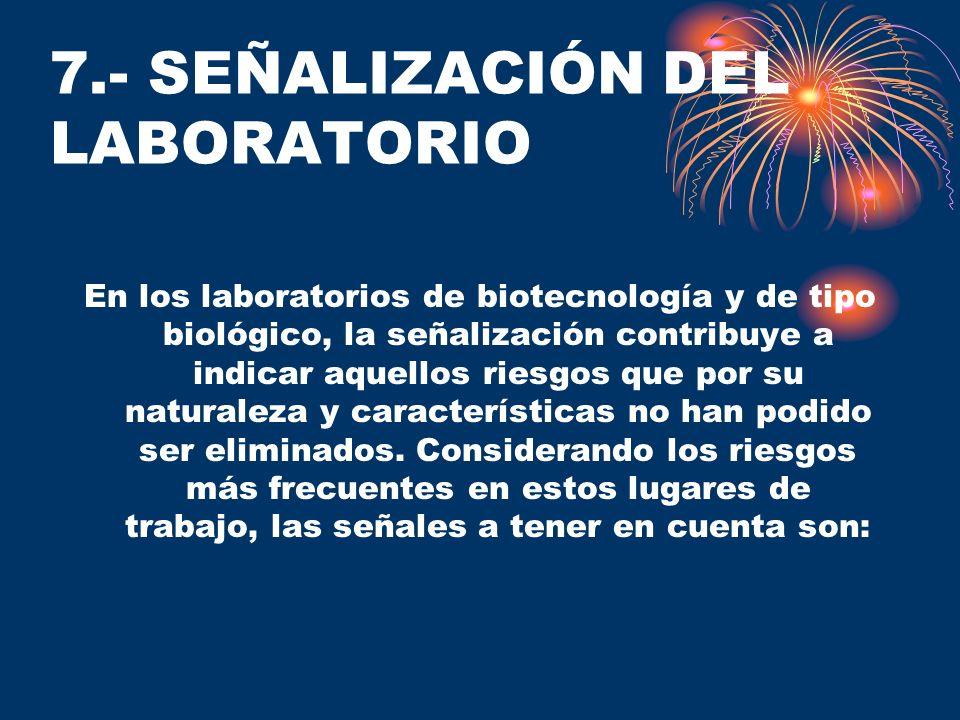 7.- SEÑALIZACIÓN DEL LABORATORIO En los laboratorios de biotecnología y de tipo biológico, la señalización contribuye a indicar aquellos riesgos que p