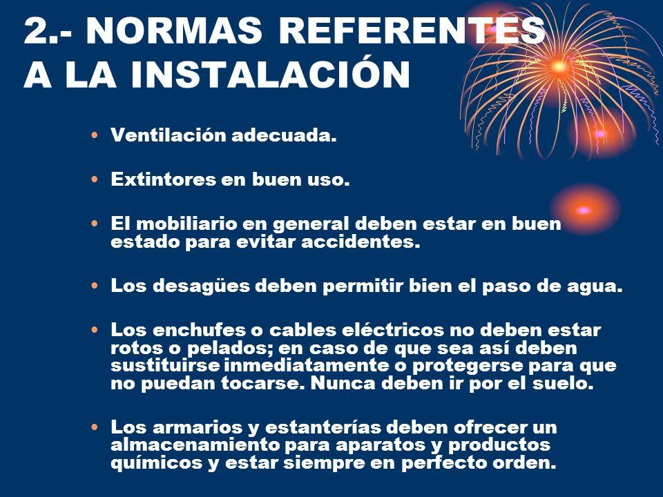 2.- NORMAS REFERENTES A LA INSTALACIÓN Ventilación adecuada. Extintores en buen uso. El mobiliario en general deben estar en buen estado para evitar a