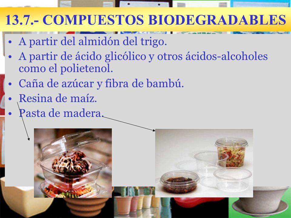 13.7.- COMPUESTOS BIODEGRADABLES A partir del almidón del trigo.