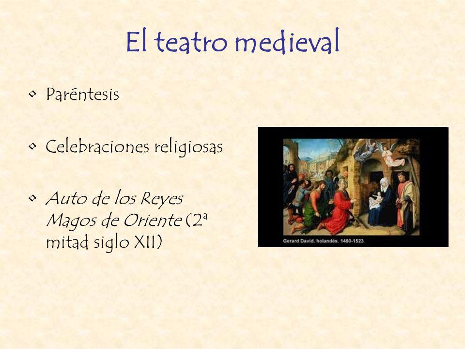 El teatro medieval Paréntesis Celebraciones religiosas Auto de los Reyes Magos de Oriente (2ª mitad siglo XII)