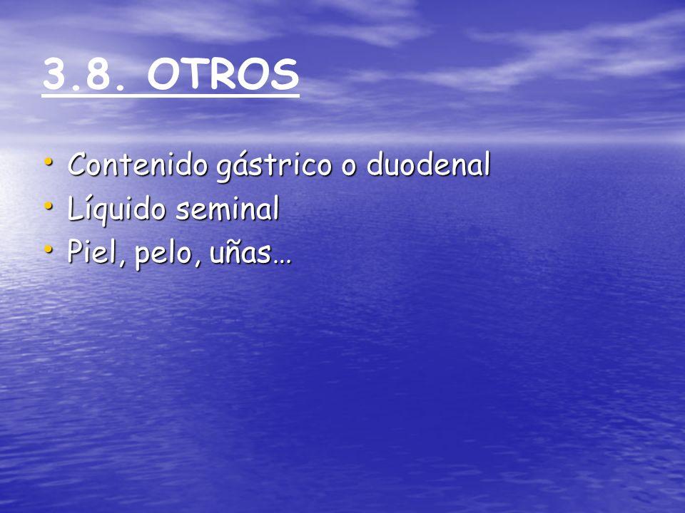 3.8. OTROS Contenido gástrico o duodenal Contenido gástrico o duodenal Líquido seminal Líquido seminal Piel, pelo, uñas… Piel, pelo, uñas…