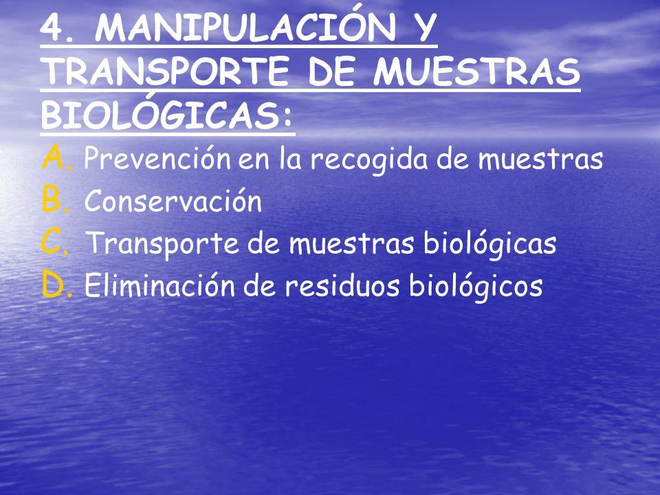 4. MANIPULACIÓN Y TRANSPORTE DE MUESTRAS BIOLÓGICAS: A. A. Prevención en la recogida de muestras B. B. Conservación C. C. Transporte de muestras bioló