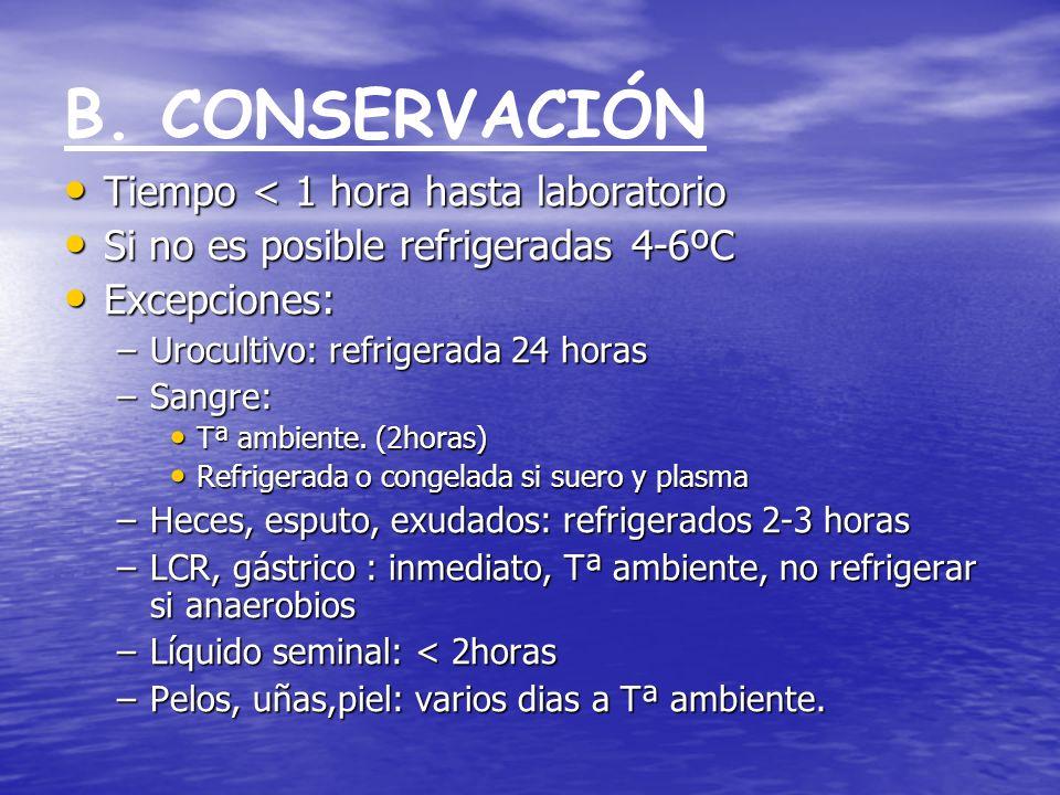 B. CONSERVACIÓN Tiempo < 1 hora hasta laboratorio Tiempo < 1 hora hasta laboratorio Si no es posible refrigeradas 4-6ºC Si no es posible refrigeradas