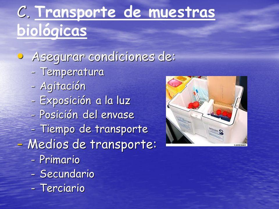 C. C. Transporte de muestras biológicas Asegurar condiciones de: Asegurar condiciones de: -Temperatura -Agitación -Exposición a la luz -Posición del e