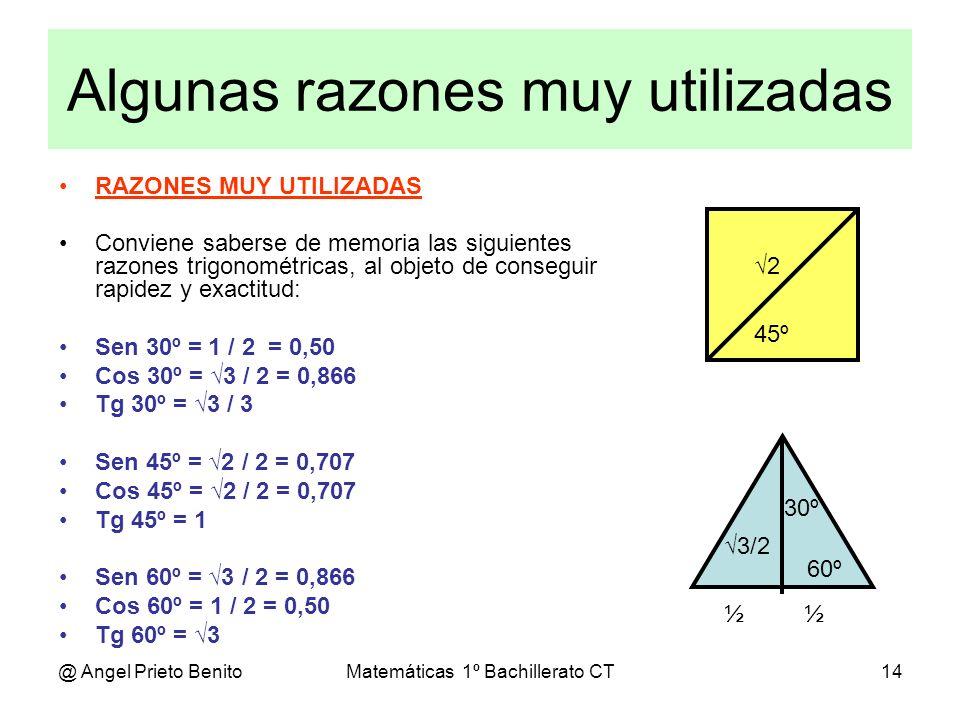 @ Angel Prieto BenitoMatemáticas 1º Bachillerato CT14 Algunas razones muy utilizadas RAZONES MUY UTILIZADAS Conviene saberse de memoria las siguientes