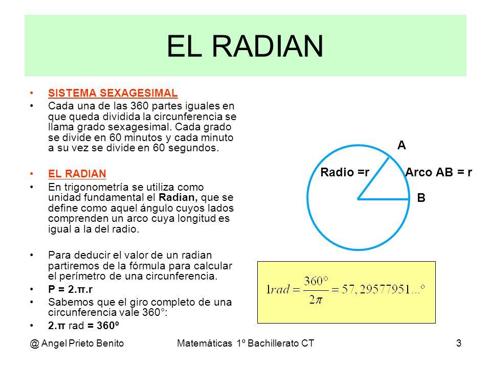 @ Angel Prieto BenitoMatemáticas 1º Bachillerato CT14 Algunas razones muy utilizadas RAZONES MUY UTILIZADAS Conviene saberse de memoria las siguientes razones trigonométricas, al objeto de conseguir rapidez y exactitud: Sen 30º = 1 / 2 = 0,50 Cos 30º = 3 / 2 = 0,866 Tg 30º = 3 / 3 Sen 45º = 2 / 2 = 0,707 Cos 45º = 2 / 2 = 0,707 Tg 45º = 1 Sen 60º = 3 / 2 = 0,866 Cos 60º = 1 / 2 = 0,50 Tg 60º = 3 ½ 3/2 2 45º 30º 60º