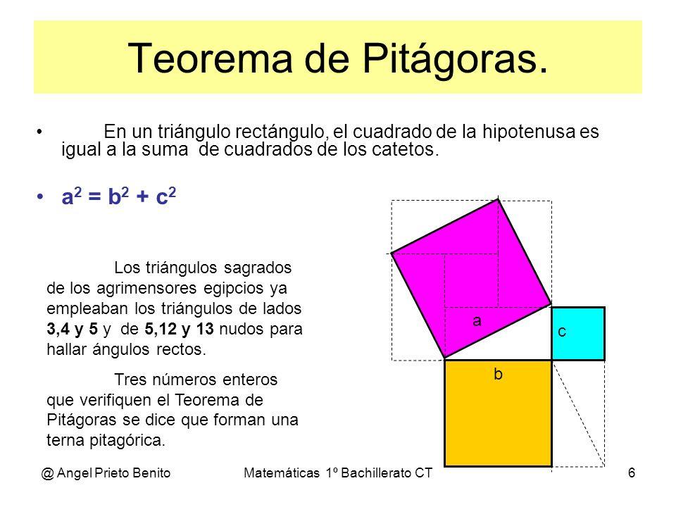 @ Angel Prieto BenitoMatemáticas 1º Bachillerato CT6 Teorema de Pitágoras. En un triángulo rectángulo, el cuadrado de la hipotenusa es igual a la suma