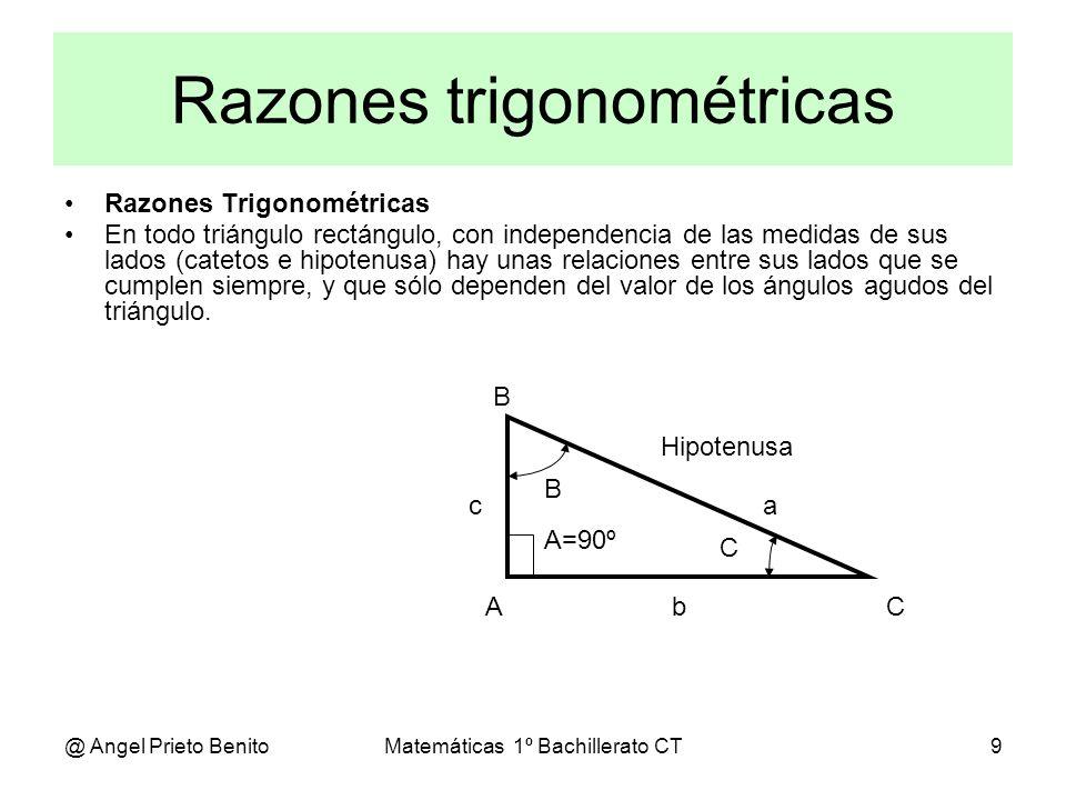 @ Angel Prieto BenitoMatemáticas 1º Bachillerato CT10 Razones en un triángulo RAZONES DIRECTAS El seno de un ángulo agudo, C, es la razón entre el cateto opuesto a dicho ángulo, c, y la hipotenusa, a.