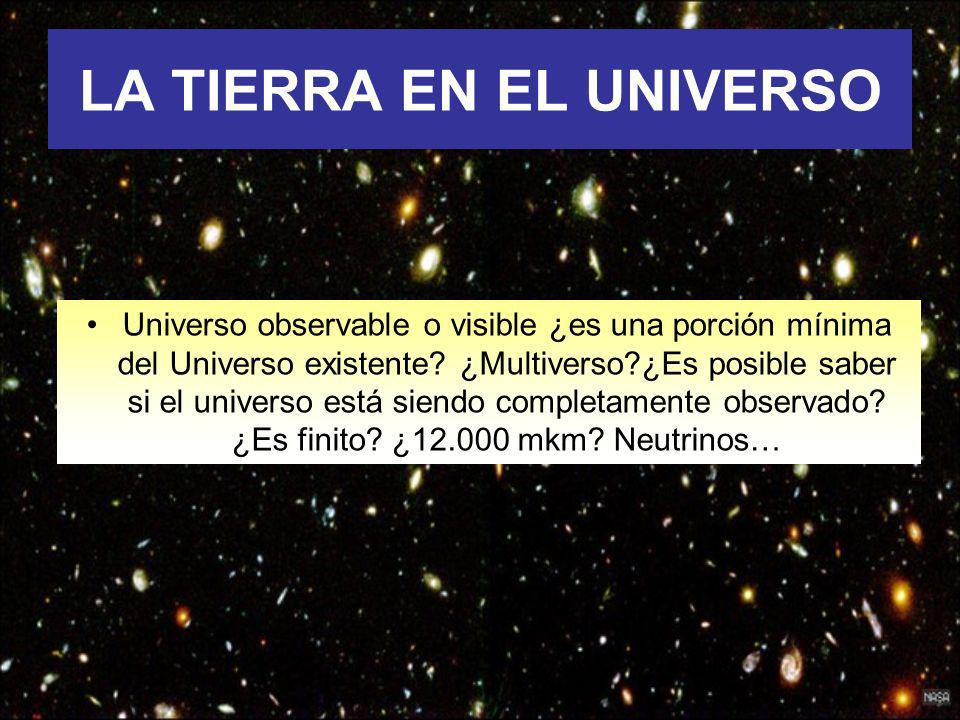 LA TIERRA EN EL UNIVERSO Universo observable o visible ¿es una porción mínima del Universo existente? ¿Multiverso?¿Es posible saber si el universo est