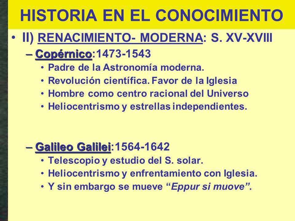 HISTORIA EN EL CONOCIMIENTO II) RENACIMIENTO- MODERNA: S. XV-XVIII –Copérnico –Copérnico:1473-1543 Padre de la Astronomía moderna. Revolución científi