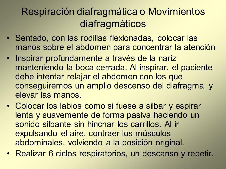 Respiración diafragmática o Movimientos diafragmáticos Sentado, con las rodillas flexionadas, colocar las manos sobre el abdomen para concentrar la at