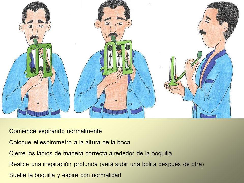 Comience espirando normalmente Coloque el espirometro a la altura de la boca Cierre los labios de manera correcta alrededor de la boquilla Realice una