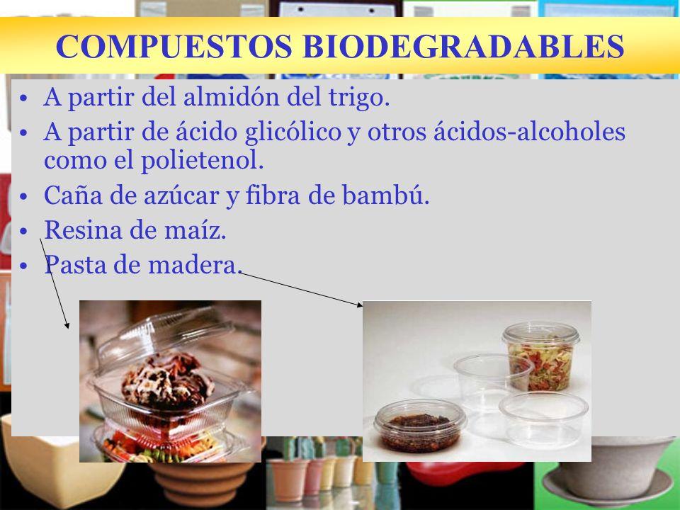 COMPUESTOS BIODEGRADABLES A partir del almidón del trigo. A partir de ácido glicólico y otros ácidos-alcoholes como el polietenol. Caña de azúcar y fi