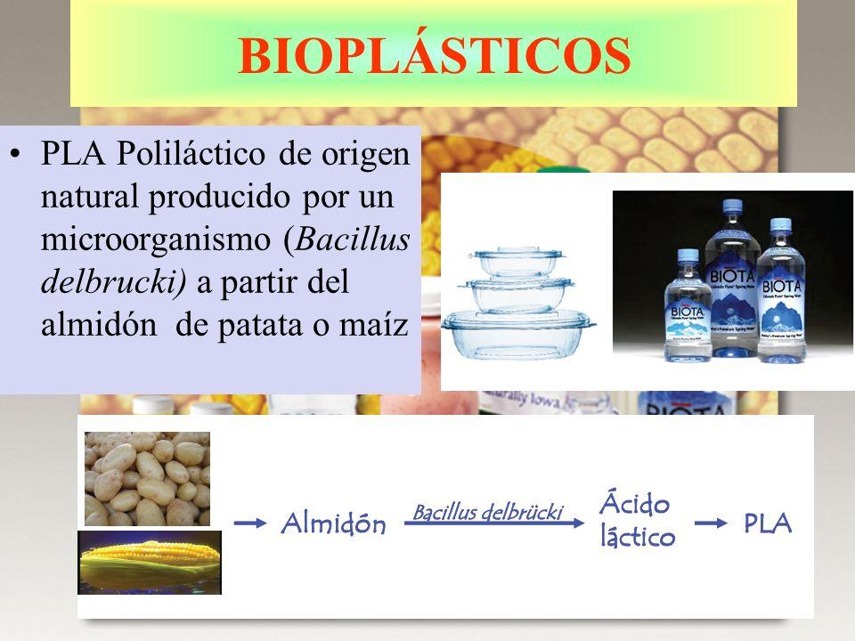 BIOPLÁSTICOS PLA Poliláctico de origen natural producido por un microorganismo (Bacillus delbrucki) a partir del almidón de patata o maíz