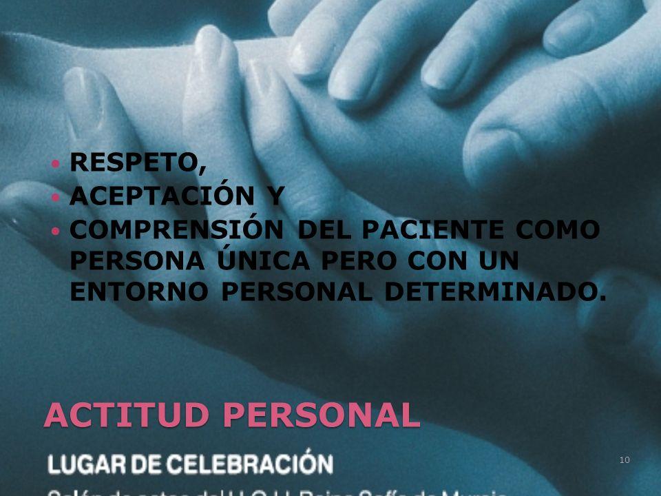 RESPETO, ACEPTACIÓN Y COMPRENSIÓN DEL PACIENTE COMO PERSONA ÚNICA PERO CON UN ENTORNO PERSONAL DETERMINADO. 10