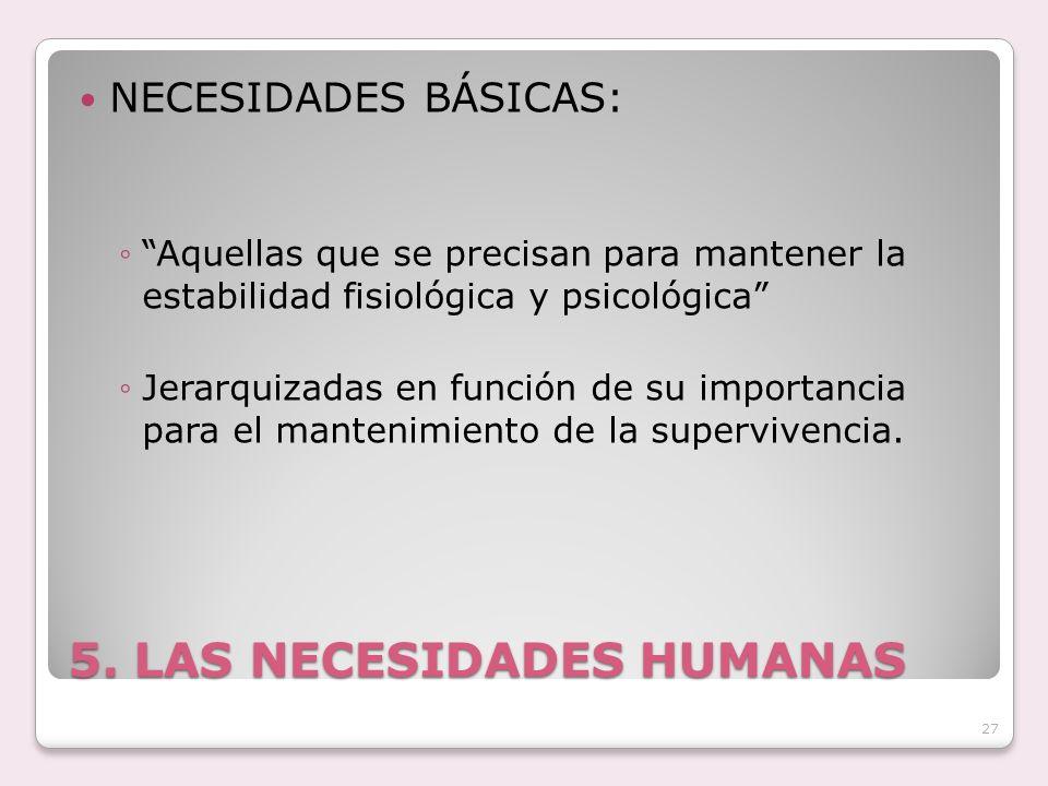 5. LAS NECESIDADES HUMANAS NECESIDADES BÁSICAS: Aquellas que se precisan para mantener la estabilidad fisiológica y psicológica Jerarquizadas en funci