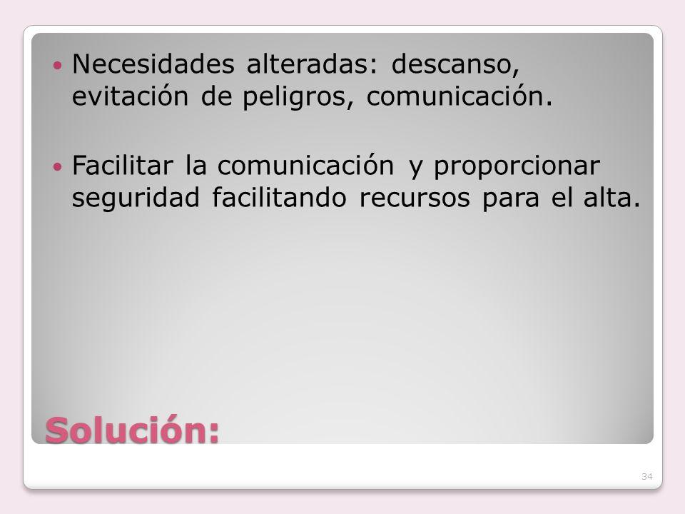 Solución: Necesidades alteradas: descanso, evitación de peligros, comunicación. Facilitar la comunicación y proporcionar seguridad facilitando recurso