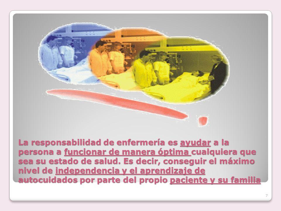 La responsabilidad de enfermería es ayudar a la persona a funcionar de manera óptima cualquiera que sea su estado de salud. Es decir, conseguir el máx