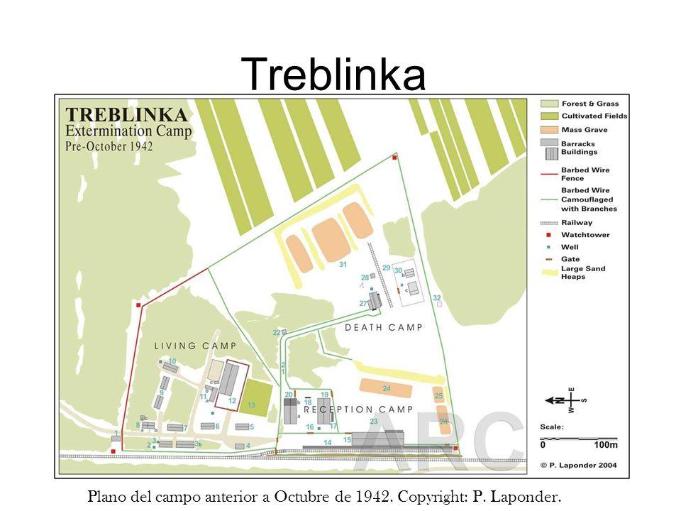 Treblinka Plano del campo anterior a Octubre de 1942. Copyright: P. Laponder.