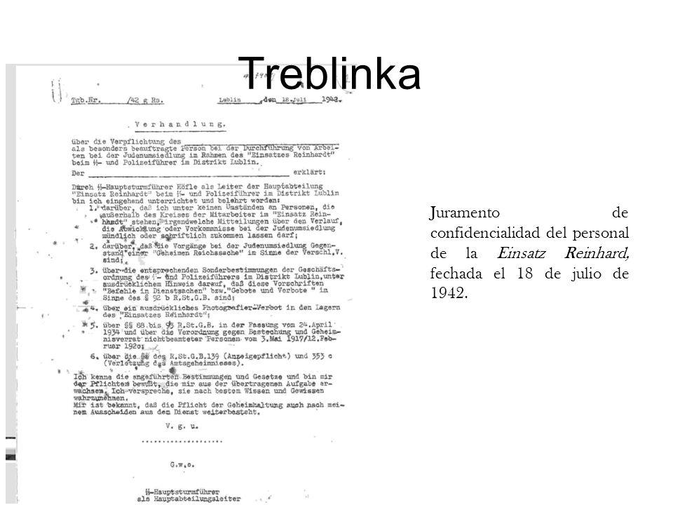 Juramento de confidencialidad del personal de la Einsatz Reinhard, fechada el 18 de julio de 1942.