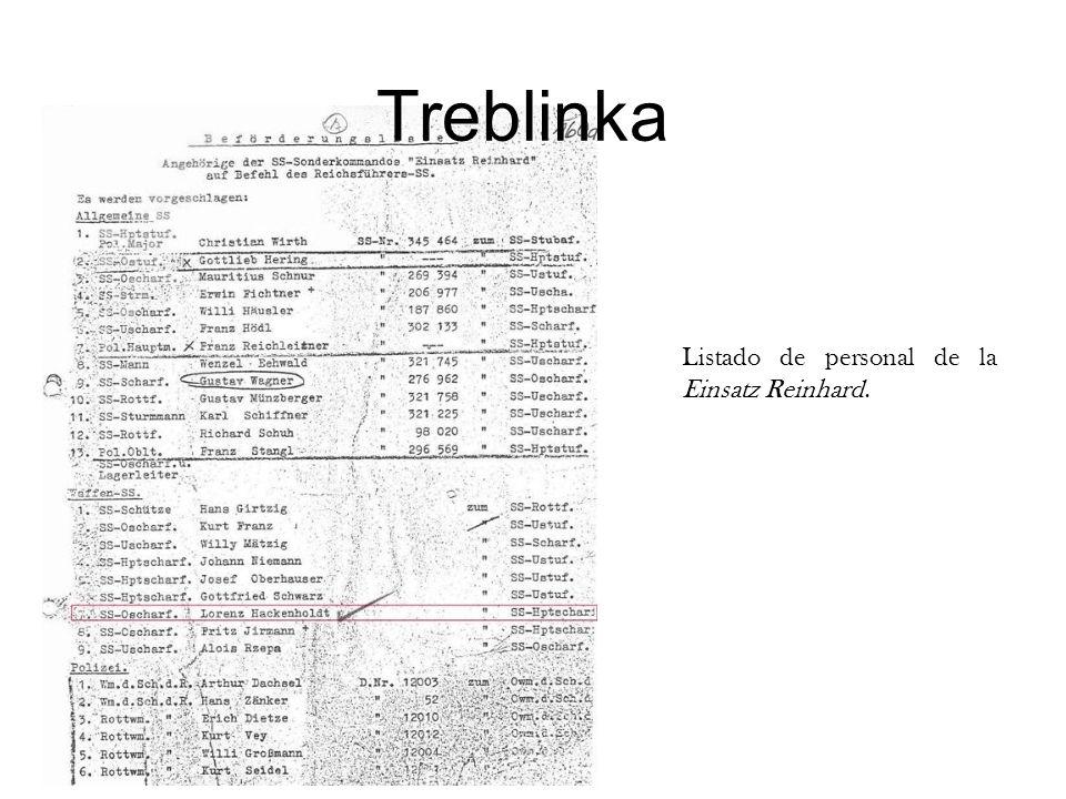 Treblinka Listado de personal de la Einsatz Reinhard.