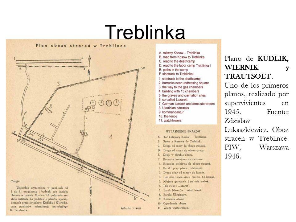 Treblinka Plano de KUDLIK, WIERNIK y TRAUTSOLT. Uno de los primeros planos, realizado por supervivientes en 1945. Fuente: Zdzislaw Lukaszkiewicz. Oboz