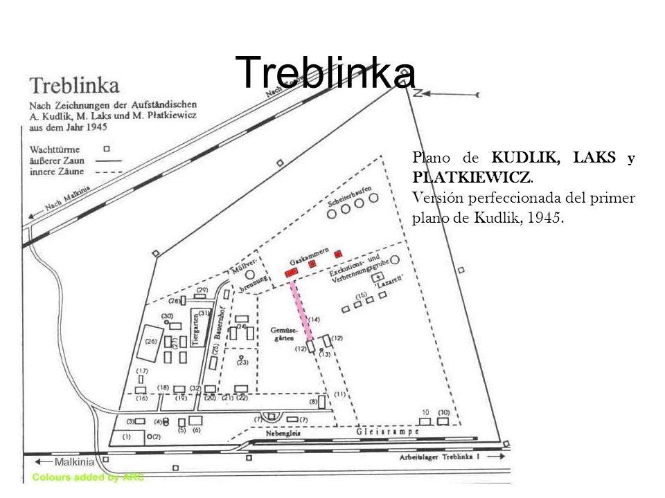 Treblinka Plano de KUDLIK, LAKS y PLATKIEWICZ. Versión perfeccionada del primer plano de Kudlik, 1945.