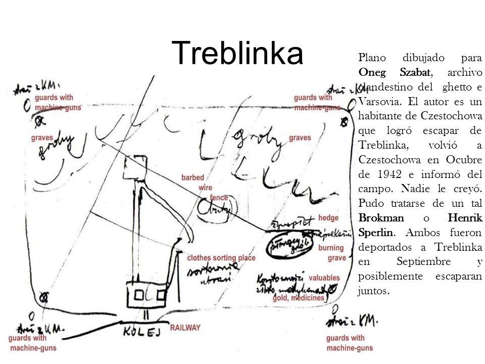 Treblinka Plano dibujado para Oneg Szabat, archivo clandestino del ghetto e Varsovia. El autor es un habitante de Czestochowa que logró escapar de Tre
