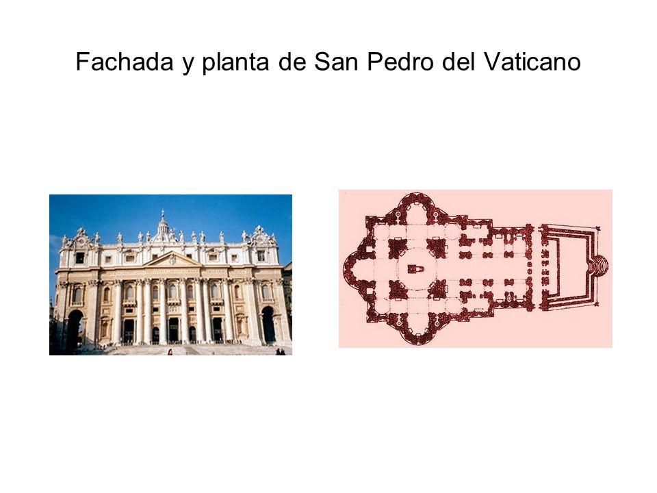 Fachada y planta de San Pedro del Vaticano