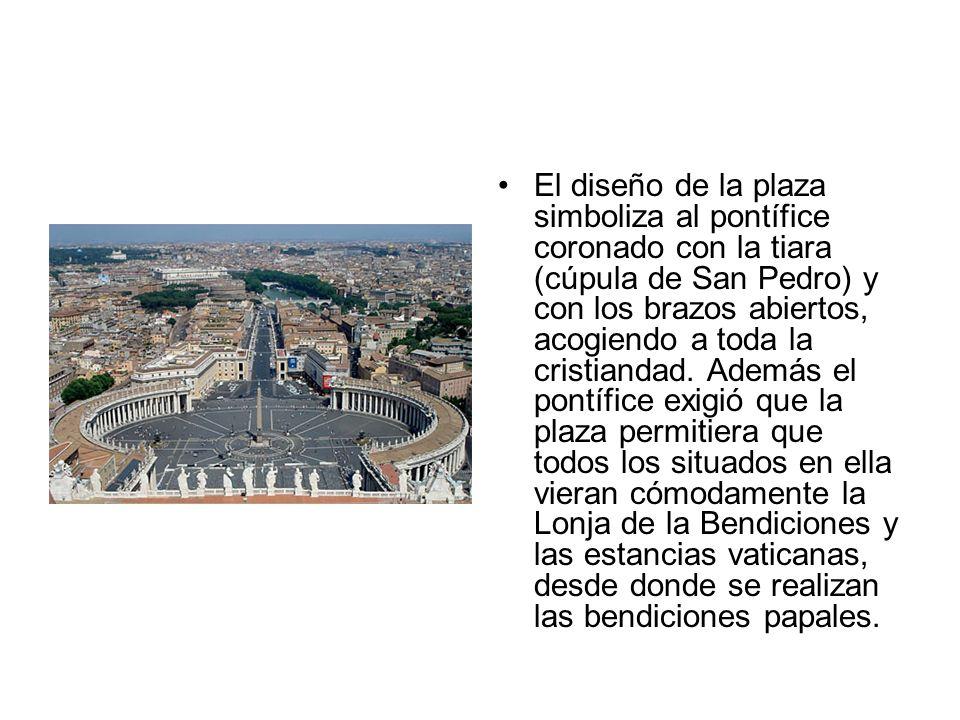 El diseño de la plaza simboliza al pontífice coronado con la tiara (cúpula de San Pedro) y con los brazos abiertos, acogiendo a toda la cristiandad. A