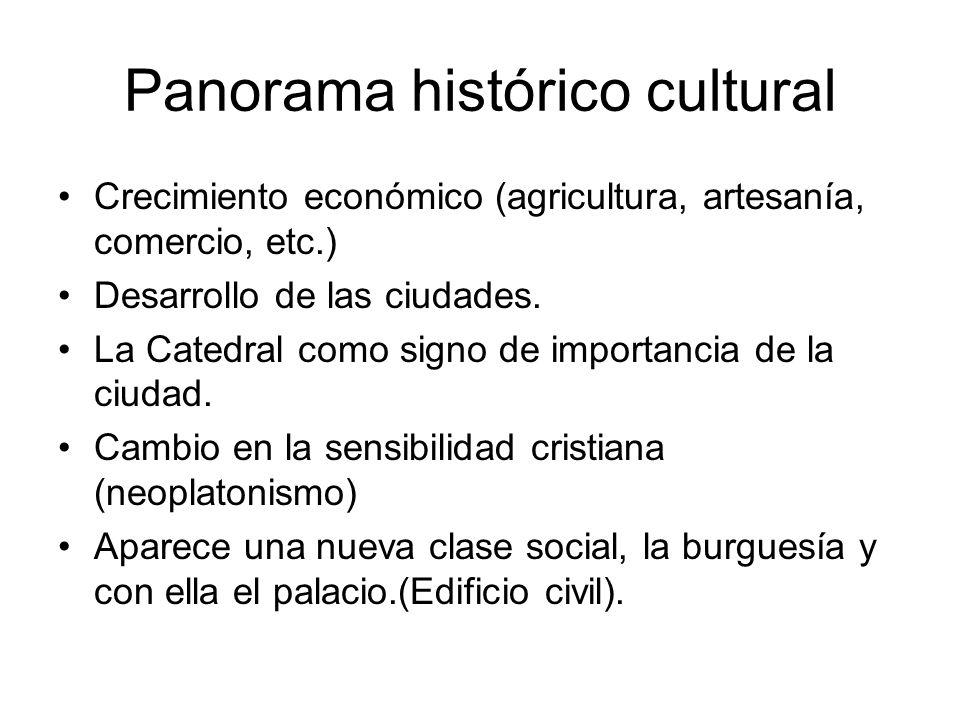 Panorama histórico cultural Crecimiento económico (agricultura, artesanía, comercio, etc.) Desarrollo de las ciudades. La Catedral como signo de impor