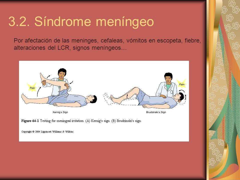 3.2. Síndrome meníngeo Por afectación de las meninges, cefaleas, vómitos en escopeta, fiebre, alteraciones del LCR, signos meníngeos…