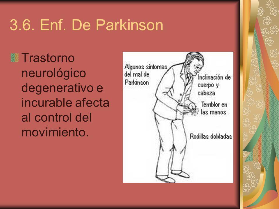 3.6. Enf. De Parkinson Trastorno neurológico degenerativo e incurable afecta al control del movimiento.