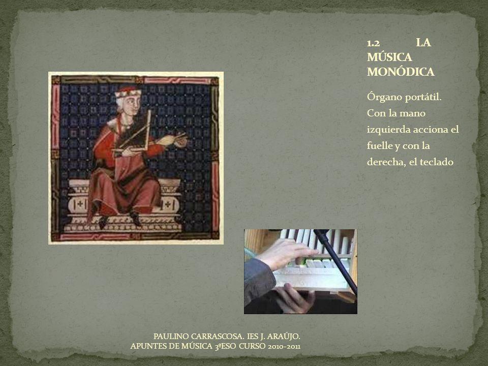 Órgano portátil. Con la mano izquierda acciona el fuelle y con la derecha, el teclado PAULINO CARRASCOSA. IES J. ARAÚJO. APUNTES DE MÚSICA 3ºESO CURSO
