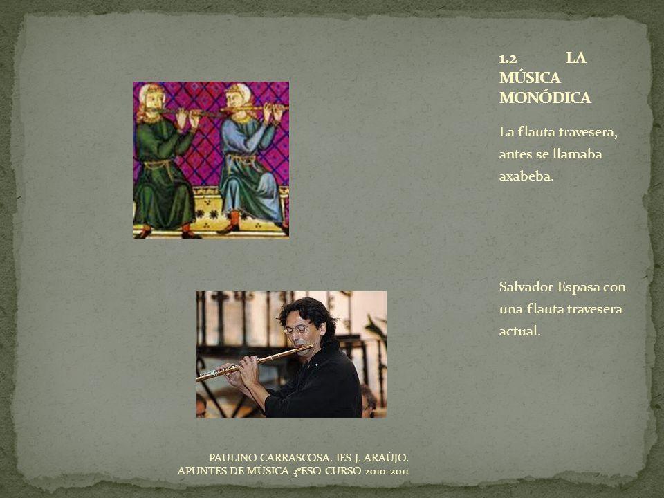 La flauta travesera, antes se llamaba axabeba. Salvador Espasa con una flauta travesera actual. PAULINO CARRASCOSA. IES J. ARAÚJO. APUNTES DE MÚSICA 3