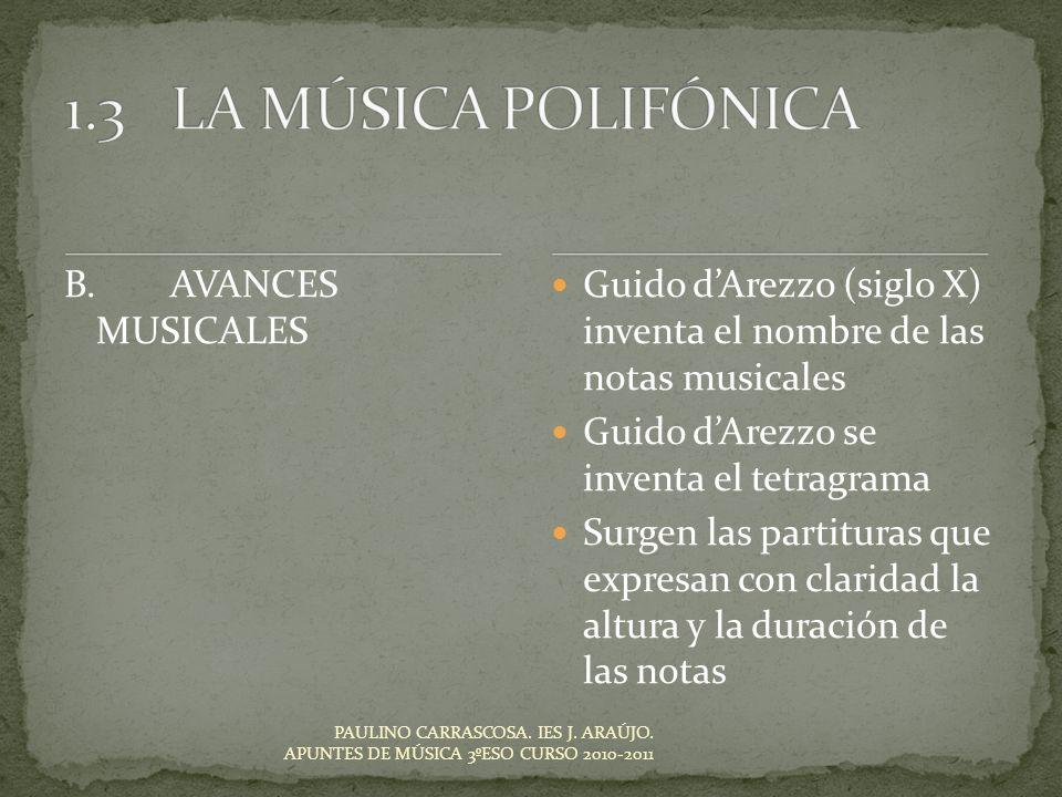 Guido dArezzo (siglo X) inventa el nombre de las notas musicales Guido dArezzo se inventa el tetragrama Surgen las partituras que expresan con clarida