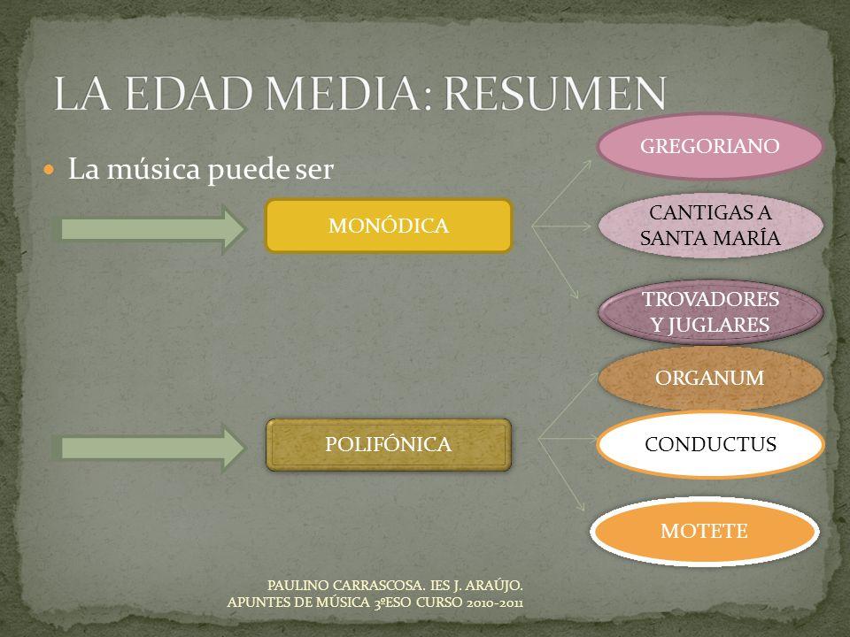 La música puede ser PAULINO CARRASCOSA. IES J. ARAÚJO. APUNTES DE MÚSICA 3ºESO CURSO 2010-2011 MONÓDICA GREGORIANO CANTIGAS A SANTA MARÍA TROVADORES Y