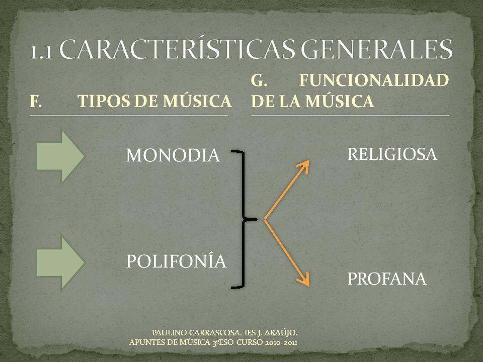 PAULINO CARRASCOSA. IES J. ARAÚJO. APUNTES DE MÚSICA 3ºESO CURSO 2010-2011 F.TIPOS DE MÚSICA MONODIA POLIFONÍA RELIGIOSA PROFANA G.FUNCIONALIDAD DE LA