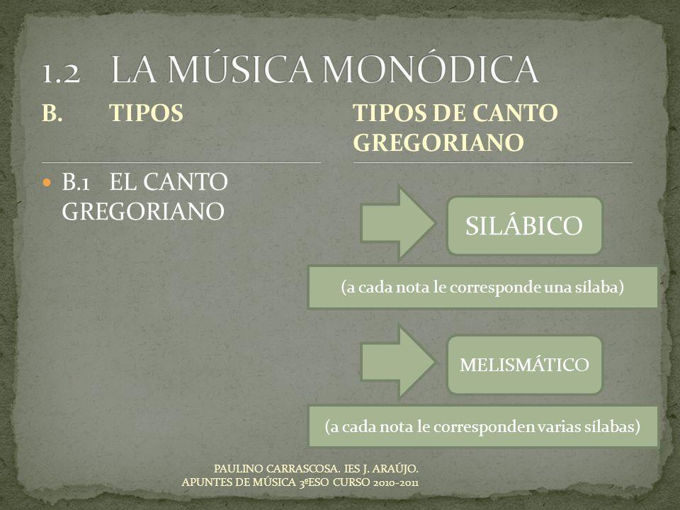 PAULINO CARRASCOSA. IES J. ARAÚJO. APUNTES DE MÚSICA 3ºESO CURSO 2010-2011 B.TIPOS B.1EL CANTO GREGORIANO TIPOS DE CANTO GREGORIANO SILÁBICO MELISMÁTI