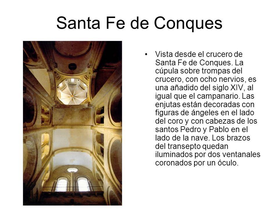 Santa Fe de Conques Vista desde el crucero de Santa Fe de Conques. La cúpula sobre trompas del crucero, con ocho nervios, es una añadido del siglo XIV