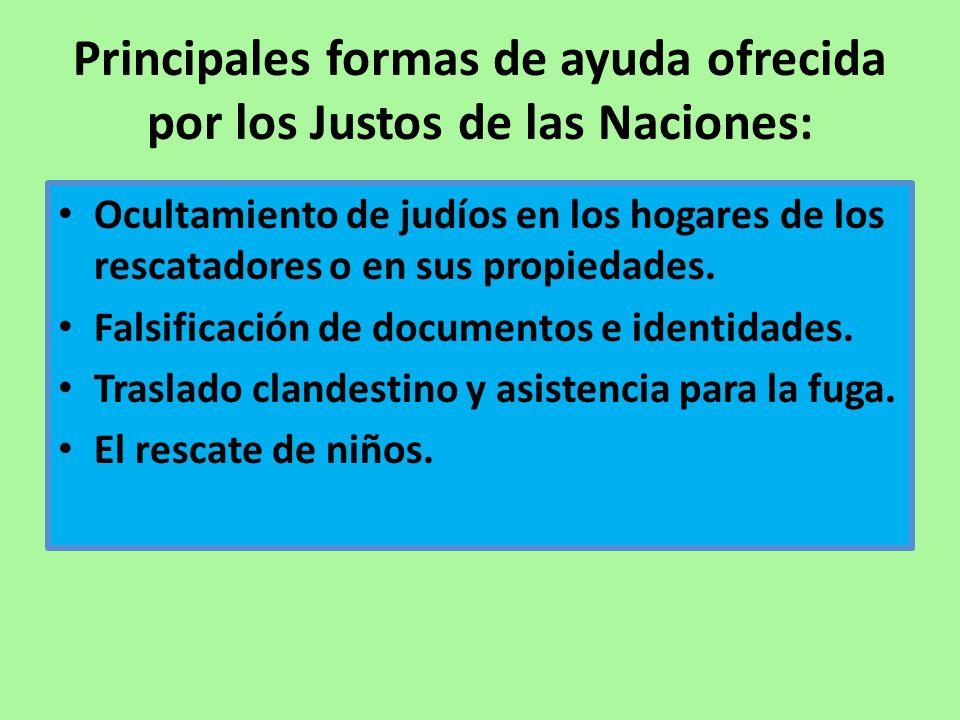 Principales formas de ayuda ofrecida por los Justos de las Naciones: Ocultamiento de judíos en los hogares de los rescatadores o en sus propiedades. F
