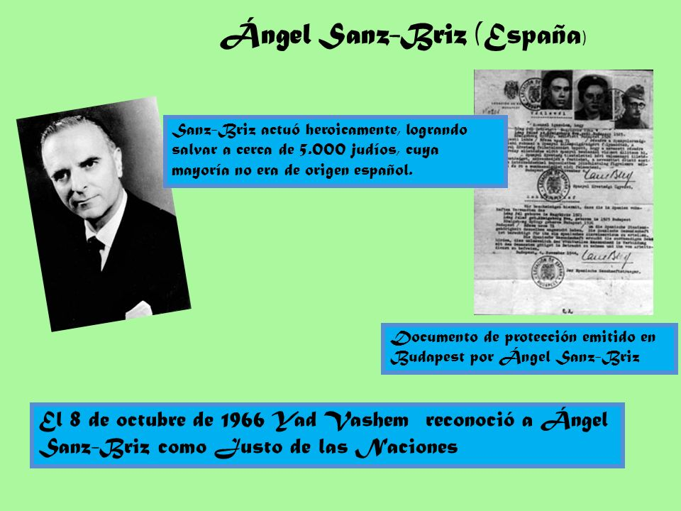 Documento de protección emitido en Budapest por Ángel Sanz-Briz Ángel Sanz-Briz (España ) El 8 de octubre de 1966 Yad Vashem reconoció a Ángel Sanz-Br
