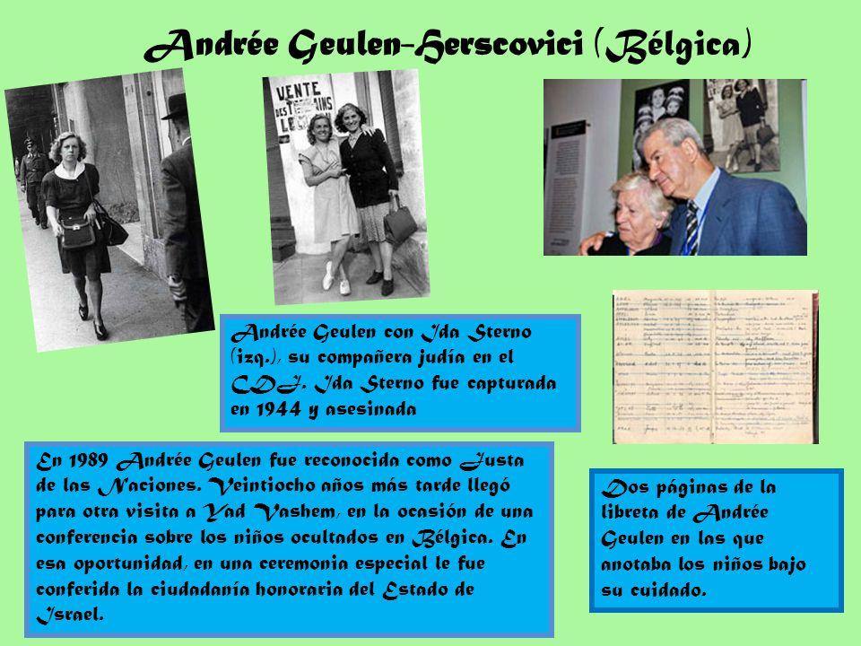 En 1989 Andrée Geulen fue reconocida como Justa de las Naciones. Veintiocho años más tarde llegó para otra visita a Yad Vashem, en la ocasión de una c