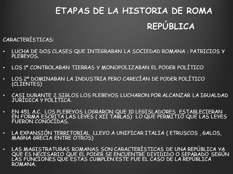 ETAPAS DE LA HISTORIA DE ROMA REPÚBLICA CARACTERÍSTICAS: LUCHA DE DOS CLASES QUE INTEGRABAN LA SOCIEDAD ROMANA : PATRICIOS Y PLEBEYOS. LUCHA DE DOS CL