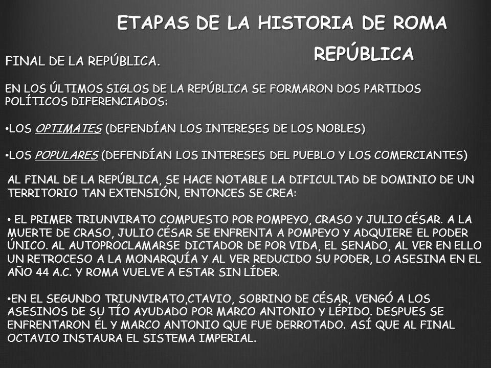 ETAPAS DE LA HISTORIA DE ROMA REPÚBLICA FINAL DE LA REPÚBLICA. EN LOS ÚLTIMOS SIGLOS DE LA REPÚBLICA SE FORMARON DOS PARTIDOS POLÍTICOS DIFERENCIADOS: