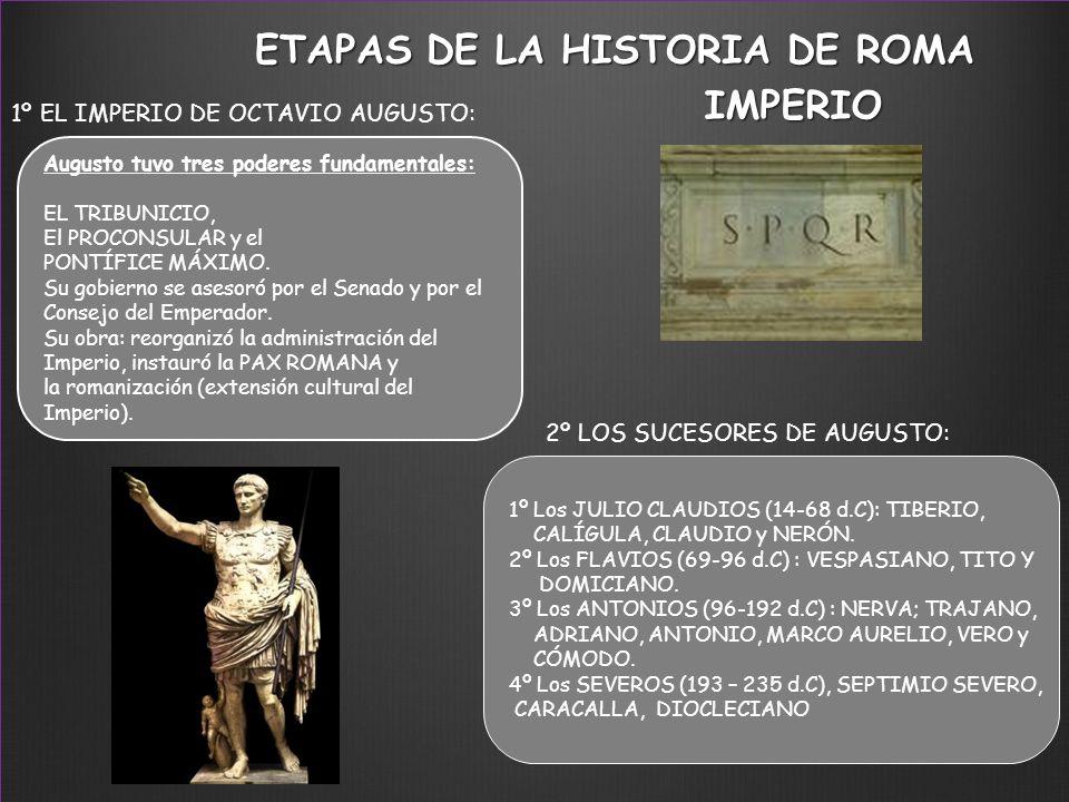 1º EL IMPERIO DE OCTAVIO AUGUSTO: 2º LOS SUCESORES DE AUGUSTO: Augusto tuvo tres poderes fundamentales: EL TRIBUNICIO, El PROCONSULAR y el PONTÍFICE M
