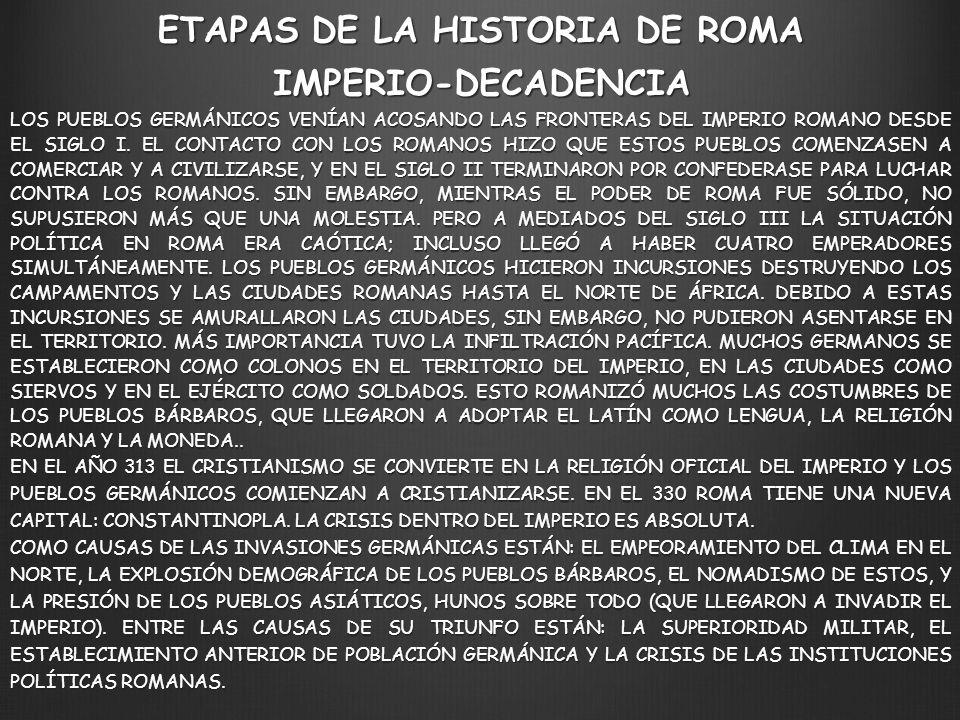LOS PUEBLOS GERMÁNICOS VENÍAN ACOSANDO LAS FRONTERAS DEL IMPERIO ROMANO DESDE EL SIGLO I. EL CONTACTO CON LOS ROMANOS HIZO QUE ESTOS PUEBLOS COMENZASE