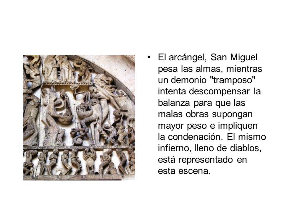 El arcángel, San Miguel pesa las almas, mientras un demonio