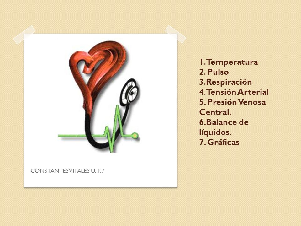1. Temperatura 2. Pulso 3.Respiración 4. Tensión Arterial 5. Presión Venosa Central. 6.Balance de líquidos. 7. Gráficas CONSTANTES VITALES. U. T. 7